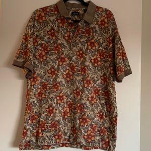 Izod VTG Collared Men's Floral T-Shirt size XL